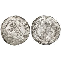 Naples (Italian States), 1/2 ducato, Charles I (struck 1548-56), IBR monogram to left of bust.