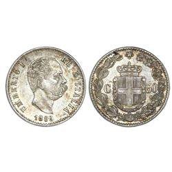 Rome, Italy, 50 centesimi, 1889-R, Umberto I, NGC MS 61.