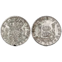 Mexico City, Mexico, pillar 8 reales, Philip V, 1743MF.