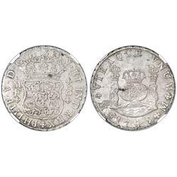 Mexico City, Mexico, pillar 8 reales, Philip V, 1745MF, NGC MS 61.