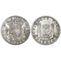 Mexico City, Mexico, pillar 8 reales, Philip V, 1745MF.