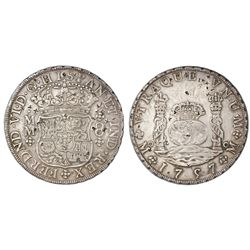 Mexico City, Mexico, pillar 8 reales, Ferdinand VI, 1757MM, with tiny chopmarks as from circulation