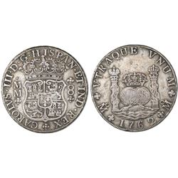 Mexico City, Mexico, pillar 8 reales, Charles III, 1762MM, cross between H and I, with chopmark as f