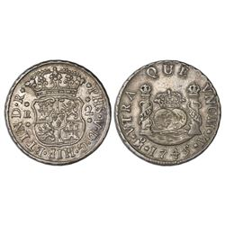 Mexico City, Mexico, pillar 2 reales, Philip V, 1745M, missing S in HISP, rare.