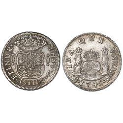 Mexico City, Mexico, pillar 2 reales, Philip V, 1746M.