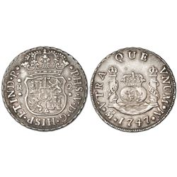 Mexico City, Mexico, pillar 2 reales, Philip V, 1747M.