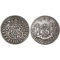 Mexico City, Mexico, pillar 2 reales, Ferdinand VI, 1747M, pellets at beginning and end of shield-si