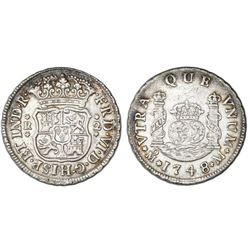 Mexico City, Mexico, pillar 2 reales, Ferdinand VI, 1748/7M, pellets at beginning and end of shield-
