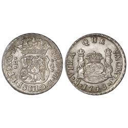 Mexico City, Mexico, pillar 2 reales, Ferdinand VI, 1748M, pellets at beginning and end of shield-si
