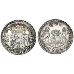 Mexico City, Mexico, pillar 2 reales, Ferdinand VI, 1749M, pellets at beginning and end of shield-si