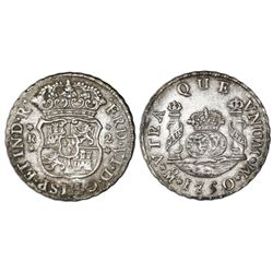 Mexico City, Mexico, pillar 2 reales, Ferdinand VI, 1750M, pellets at beginning and end of shield-si