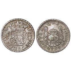 Mexico City, Mexico, pillar 2 reales, Ferdinand VI, 1754/3M.