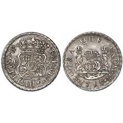 Mexico City, Mexico, pillar 2 reales, Ferdinand VI, 1755M.