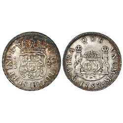 Mexico City, Mexico, pillar 2 reales, Ferdinand VI, 1757M, crowns alike.