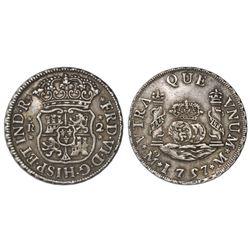 Mexico City, Mexico, pillar 2 reales, Ferdinand VI, 1757M, dissimilar crowns.
