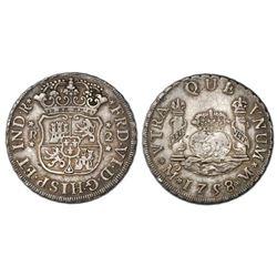 Mexico City, Mexico, pillar 2 reales, Ferdinand VI, 1758M, cinquefoil ornaments.
