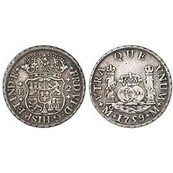 Mexico City, Mexico, pillar 2 reales, Ferdinand VI, 1759M, cross ornaments.