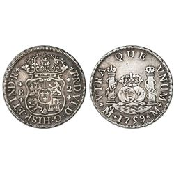 Mexico City, Mexico, pillar 2 reales, Ferdinand VI, 1759M, cross ornaments.