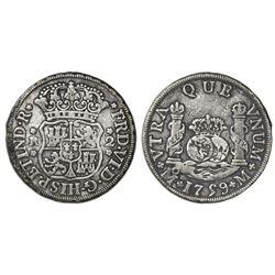 Mexico City, Mexico, pillar 2 reales, Ferdinand VI, 1759M, cinquefoil ornaments on shield side, cros