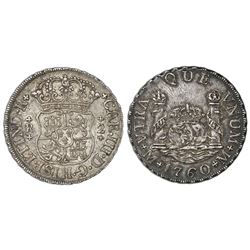 Mexico City, Mexico, pillar 2 reales, Charles III, 1760M, A over inverted A in king's name, very rar