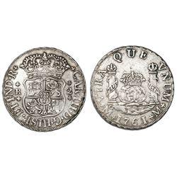 Mexico City, Mexico, pillar 2 reales, Charles III, 1761/0M, rare.