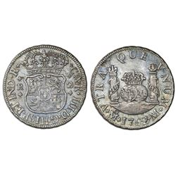 Mexico City, Mexico, pillar 2 reales, Charles III, 1762M, large 2 in date.