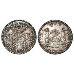 Mexico City, Mexico, pillar 2 reales, Charles III, 1763M.