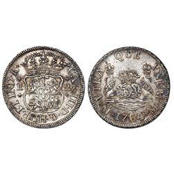 Mexico City, Mexico, pillar 2 reales, Charles III, 1764M.