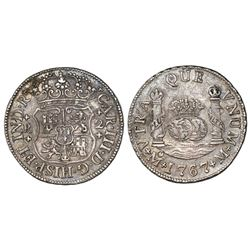 Mexico City, Mexico, pillar 2 reales, Charles III, 1767M.