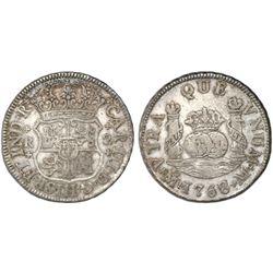 Mexico City, Mexico, pillar 2 reales, Charles III, 1768/6M, very rare.