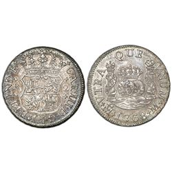 Mexico City, Mexico, pillar 2 reales, Charles III, 1768M.