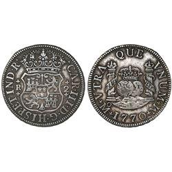 Mexico City, Mexico, pillar 2 reales, Charles III, 1770M, rare.