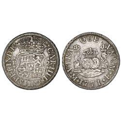Mexico City, Mexico, pillar 2 reales, Charles III, 1771F.