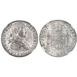 "Mexico City, Mexico, bust 8 reales, Ferdinand VII transitional (""armored"" bust), 1811HJ, NGC AU 58."