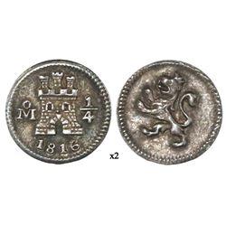 Mexico City, Mexico, 1/4 real, 1816, NGC AU 55.