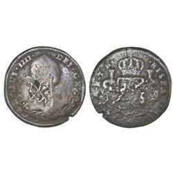 Congress of Chilpanzingo (Veracruz), Mexico, countermark on a cast Mexico City, Mexico, bust 1 real,