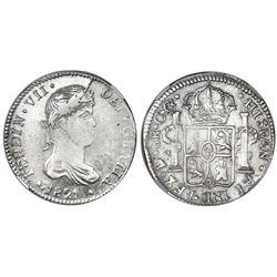 Durango, Mexico, bust 8 reales, Ferdinand VII, 1821CG, NGC VF 30.