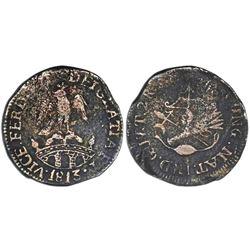 Tlalpujahua, Mexico (National Congress), copper 2 reales, Ferdinand VII, 1813, NGC VF details / envi