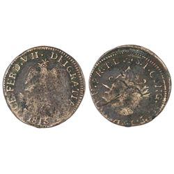 Tlalpujahua, Mexico (National Congress), copper 2 reales, Ferdinand VII, 1813.