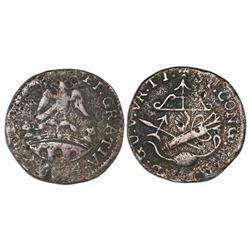 Tlalpujahua, Mexico (National Congress), copper 2 reales, Ferdinand VII, 1814, NGC VG details / envi