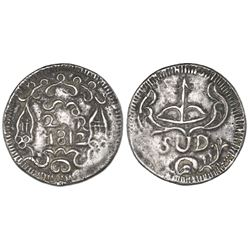 Oaxaca (Morelos / SUD), Mexico, cast silver 2 reales, 1812, with ornaments, NGC VF details / damaged