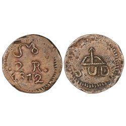 Oaxaca (Morelos / SUD), Mexico, copper 2 reales, 1812.