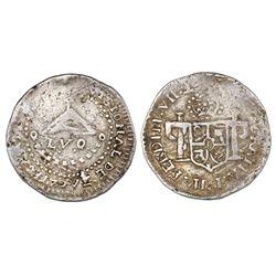 Zacatecas, Mexico, 2 reales provisional, Ferdinand VII, 1811-LVO, local arms, NGC VF 25.