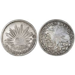 """Mexico City, Mexico, cap-and-rays 8 reales """"hookneck,"""" 1824JM."""