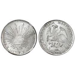 Zacatecas, Mexico, cap-and-rays 8 reales, 1887FZ, mintmark Z, NGC MS 64.