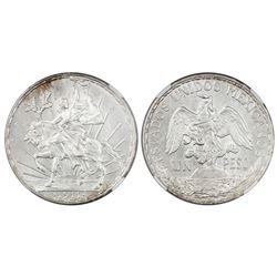 "Mexico City, Mexico, 1 peso ""Caballito,"" 1911, long ray, NGC MS 62."