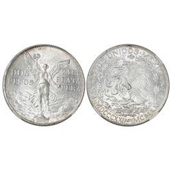 Mexico City, Mexico, 2 pesos, 1921, Independence centennial, NGC MS 63.