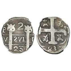 "Leon, Nicaragua, provisional ""imitation cob"" 2 reales, 1823-PMPY, ""owl face"" ornaments atop pillars,"