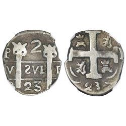 Leon, Nicaragua, provisional  imitation cob  2 reales, 1823-PMPY,  owl face  ornaments atop pillars,