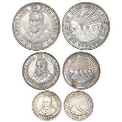 Lot of three Nicaragua coins: 1 cordoba, 1912-H; 50 centavos, 1912-H; 25 centavos, 1929.